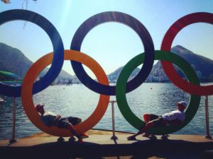 Marcus Blumensaat and Dr. Wilkinson lounging in the Olympic rings.